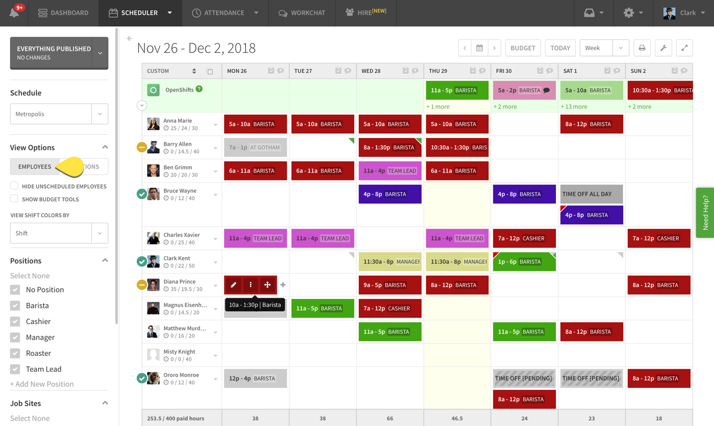 Employee View Option on Scheduler