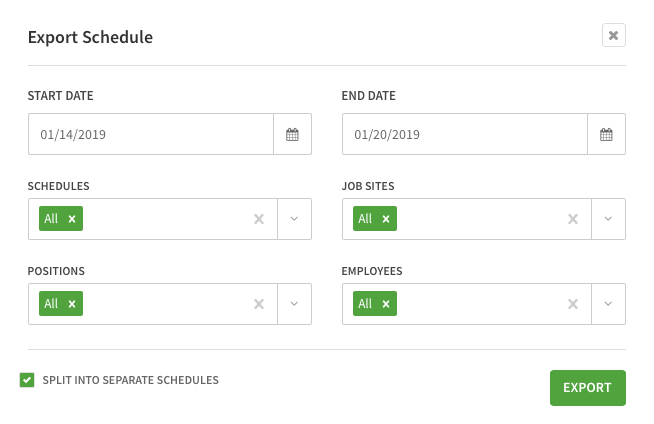 Export schedule options screen