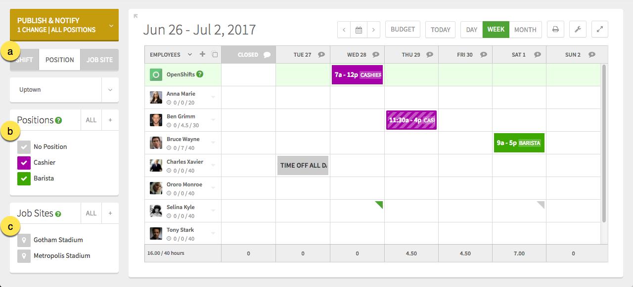 Schedule filters