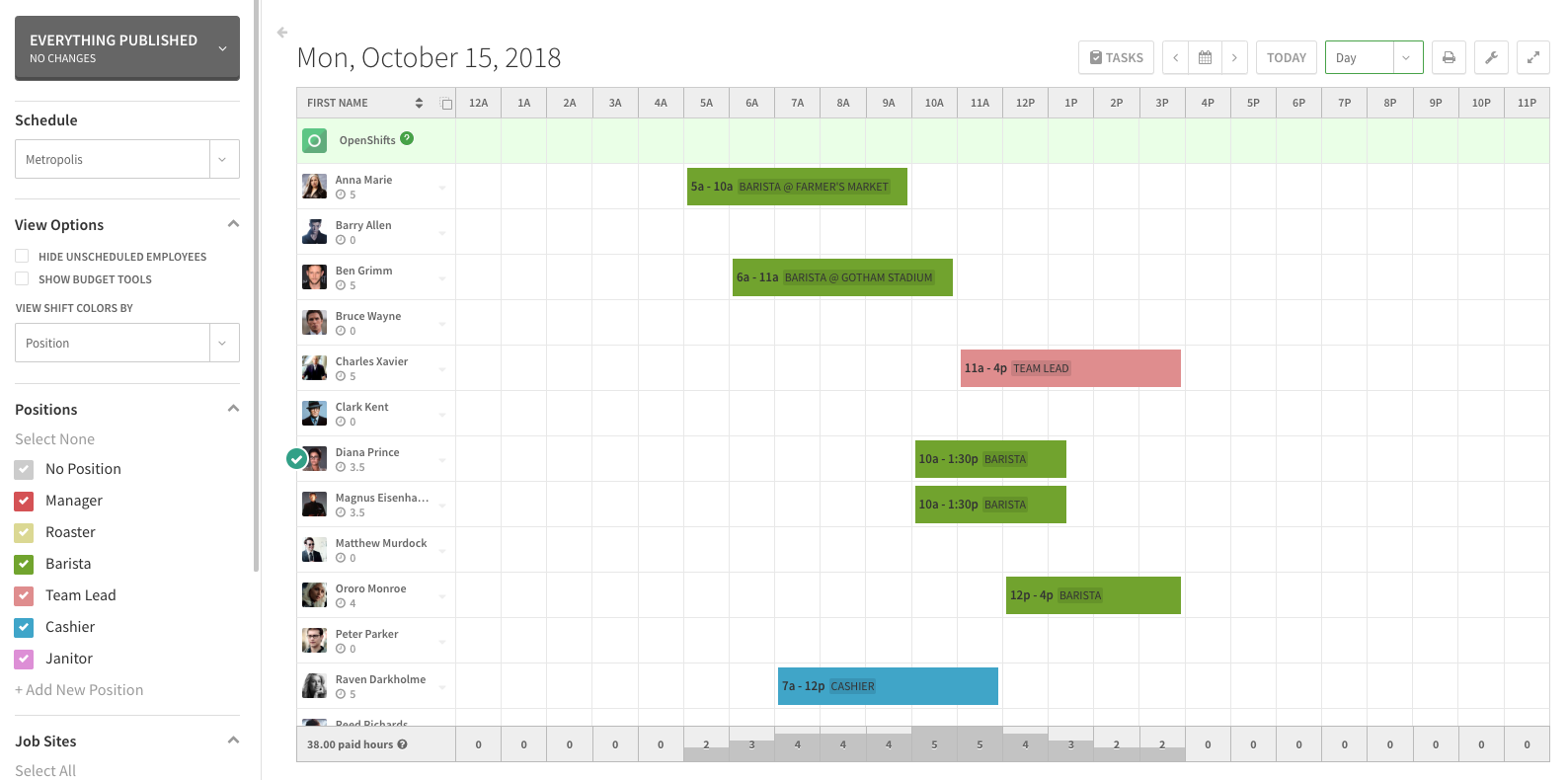 schedule views when i work help center