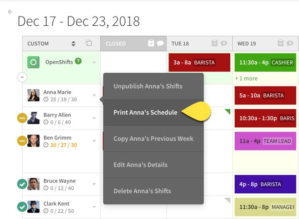 Print employee schedule