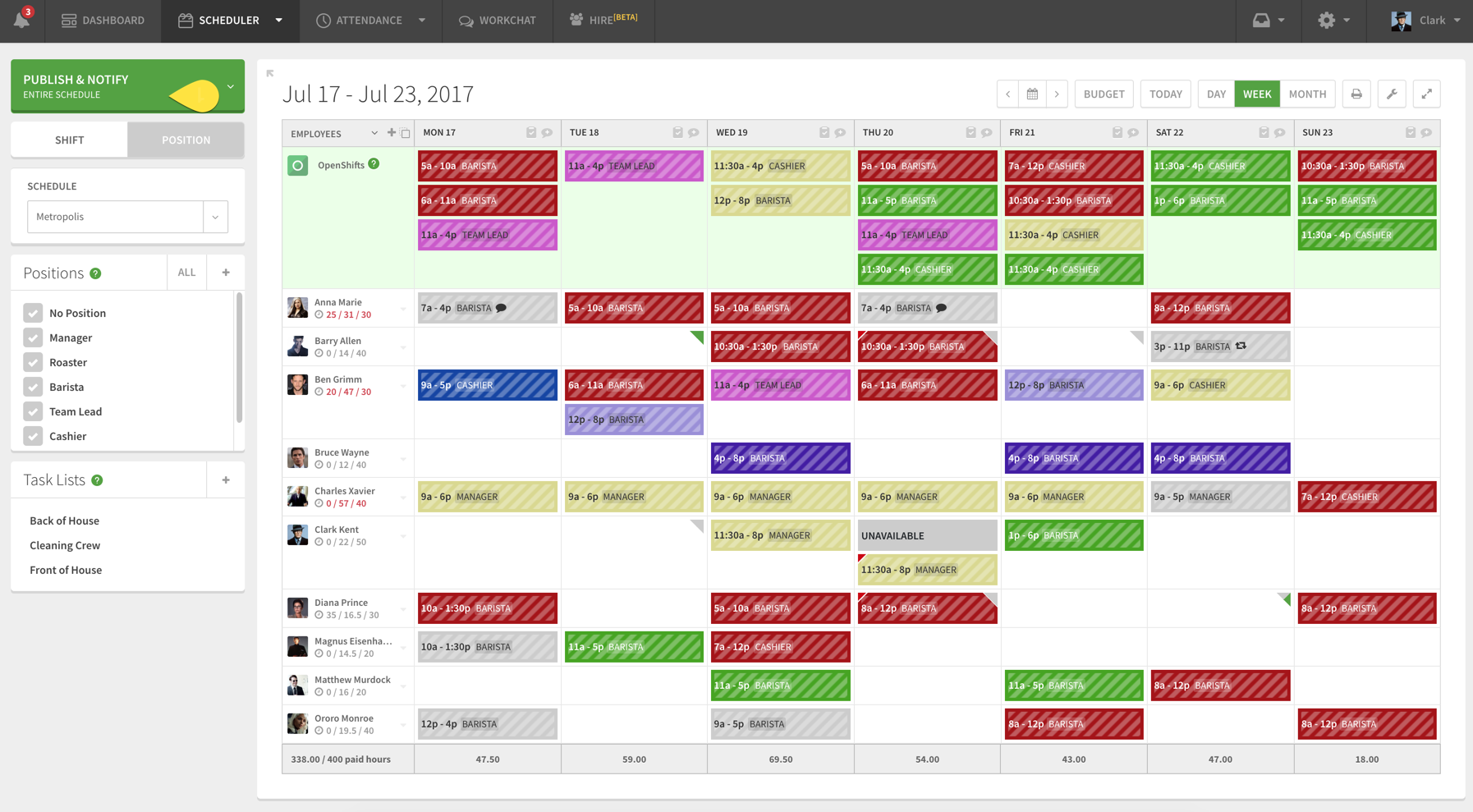 Scheduler Publish & Notify button with callout