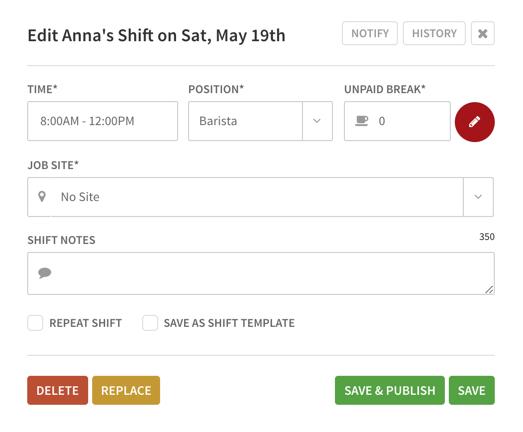 Edit Shift menu