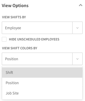 View options colors