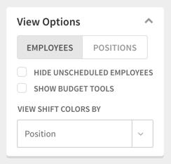 View Options menu