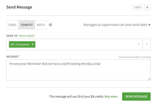 Send team text dialog