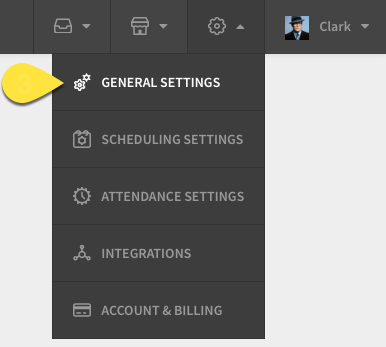 Settings menu with General Settings called out