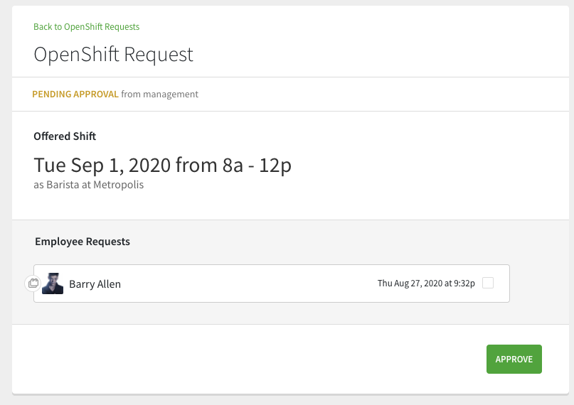 Approve shared openshift request
