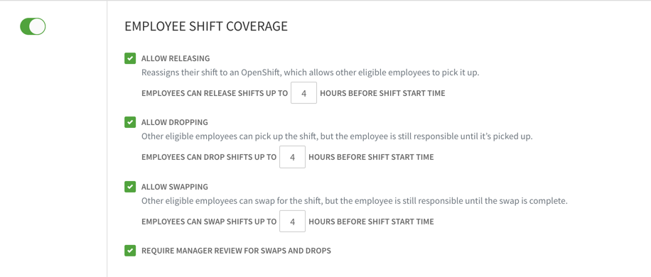 Employee shift coverage settings