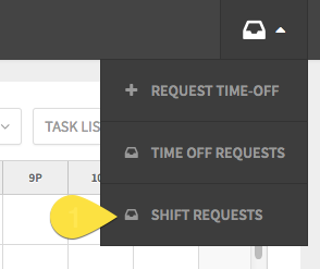 Shift requests drop down