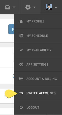 Switch accounts button