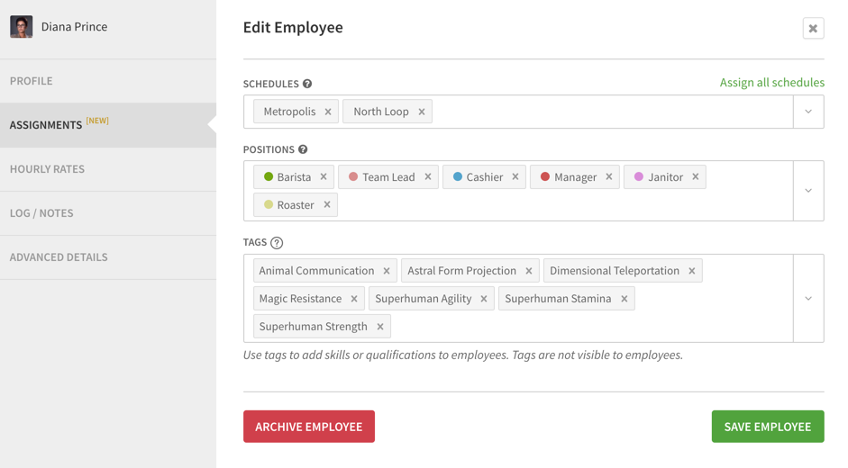 Listed tags for employee