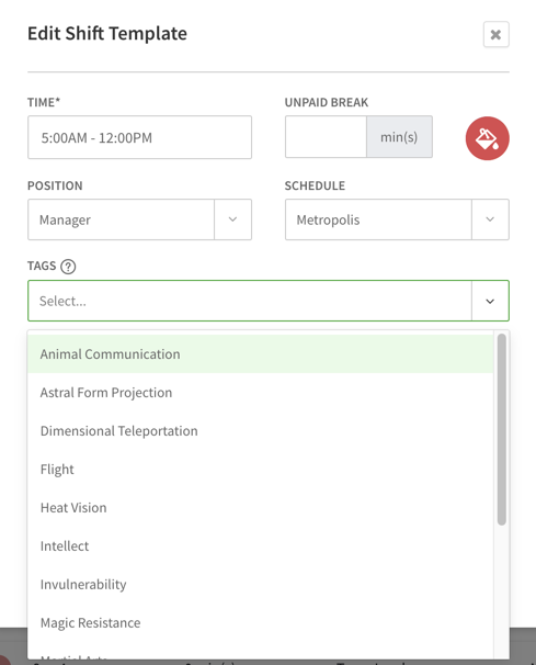 Shift template tags dropdown