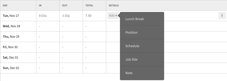 Add Lunch Break on Timesheet