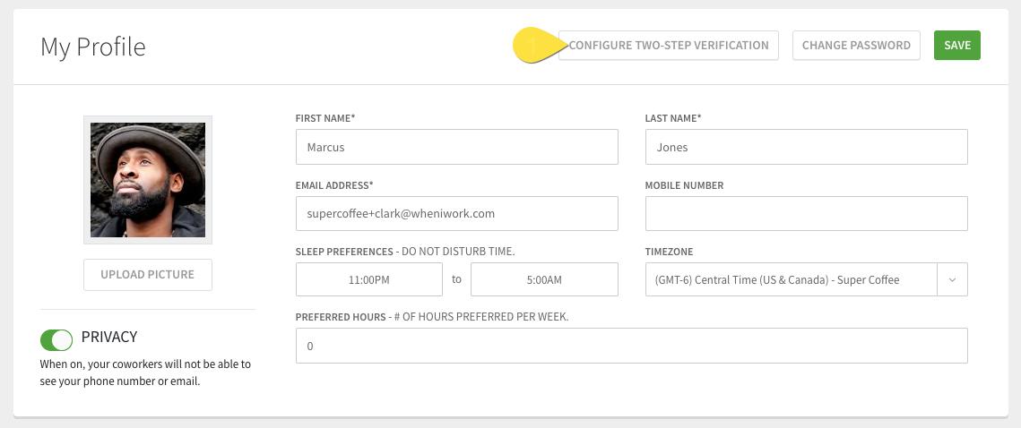 Configure two-step verification