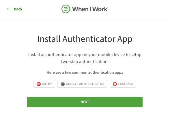 Install authenticator app