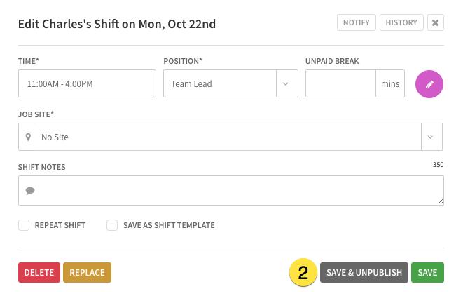 Unpublish a shift
