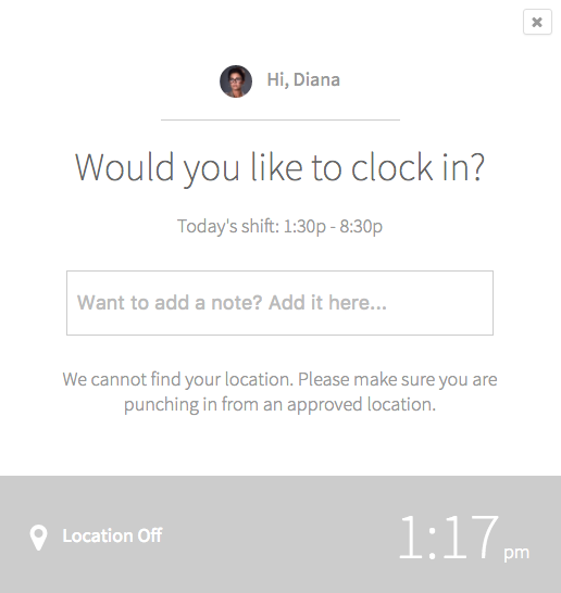 Location Off message