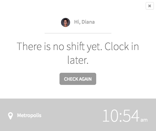 There is no shift yet message