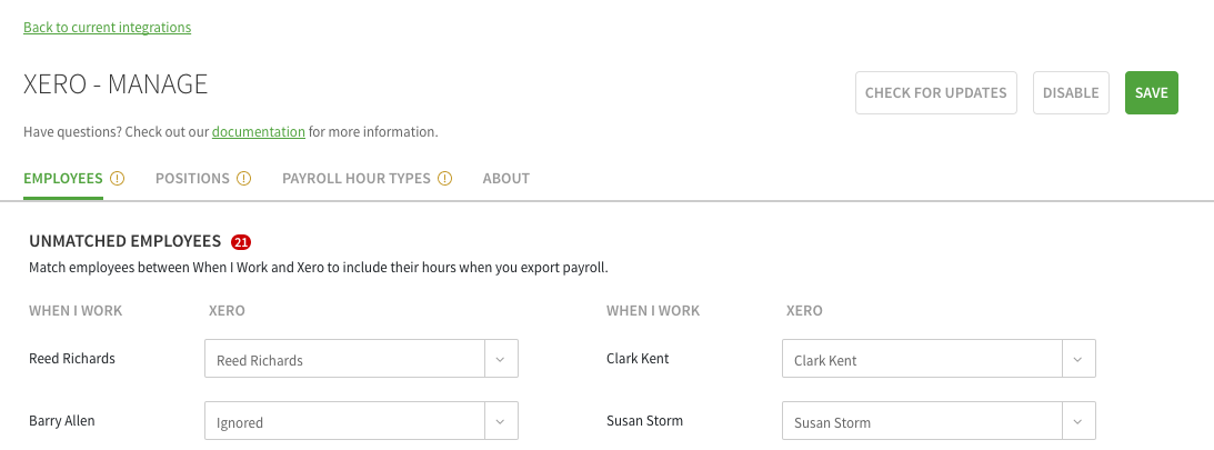 Xero Employees tab