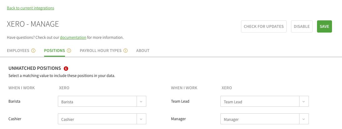 Xero Positions Tab