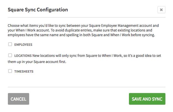Square Sync Configuration